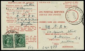 P.M.G. Dept Advice of Delivery With 2 x 1½d QEII Melbourne to Brighton 1950