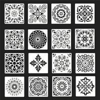 16pcs Reusable Stencil Cut Floor Wall Tile Paint Stencils Template Making