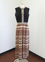Vtg 70s Black Brown Geometric Striped Keyhole Embroidered Maxi Dress S M Hippie