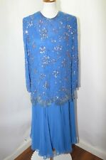 Vtg Jack Bryan Blue Sequin Beaded Floral Cocktail Party Dress Womens 16