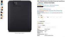 Western Digital WD Elements 2TB USB 3.0 Portable External Hard Drive - Black...