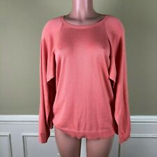 H Halston Womens Sweater Knit Cape Top Crew Neck Ribbed Trim Soft Coral Size M