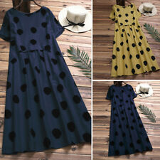 Women Casual Plus Size Short Sleeve Sundress Retro Vintage Polka Dot Midi Dress