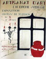 """""""EXPO ARTISANAT d'ART TOURNON 1961""""Maquette gouache sur papier entoilée 54x69cm"""