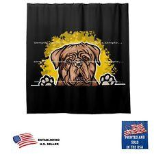 Dog De Bordeaux Dog Splash On Black Bathroom Fabric USA Shower Curtain