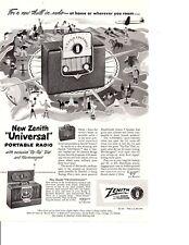 1950 ZENITH PORTABLE RADIO ~ ORIGINAL PRINT AD
