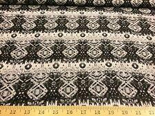 "Black/White Batil/Native Design 100% Polyester Chiffon Fabric 58"" W By The Yard"