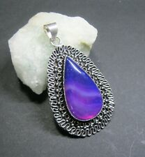 Natural, Purple and Pink Botswana Agate Gemstone Pendant - 925 Silver Plated