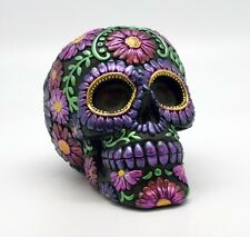 Purple Metallic Floral Day of the Dead Sugar Skull Coin Bank Dia de Los Muertos