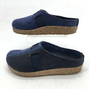 Haflinger Magic Casual Wool Felt Clog Mule Slipper Embroidered Womens 37 Blue