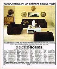 PUBLICITE ADVERTISING 104  1974   ROCHE-BOBOIS  fauteuils canapés PATCHWORK CUIR