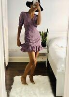 Lilac Floral Wrap Dress Size M UK 12