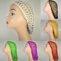 Women Lady Soft Rayon Snood Hair Net Crochet Hairnet Knit Hat Cap Hairnet