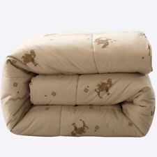 Winter Quilted Blanket Printed Cotton Stitching Camel Hair Filler Adults Quilt