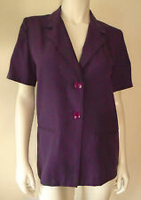 SAG HARBOR Career Purple Top Short Sleeve 2 Button Front 2 Pockets Size 6 P