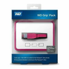 Genuine WD Grip Pack Case For 2 & 3 TB My Passport Ultra Flat USB Cable Fuchsia