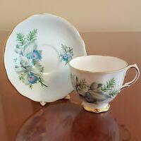 Vintage Colclough Blue Floral Tea Cup and Saucer Ridgway Potteries Flowers