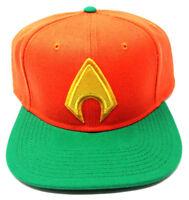 DC COMICS ORANGE GREEN AQUAMAN JUSTICE LEAGUE 3D LOGO SNAPBACK HAT CAP FLAT BILL