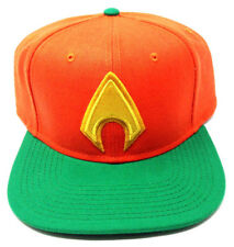 DC COMICS ORANGE GREEN AQUAMAN JUSTICE LEAGUE 3D LOGO SNAPBACK HAT CAP FLAT BILL