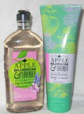 Bath & Body Works Shower Gel Cream APPLE BLOSSOM & LAVENDER Lot Set of 2