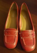 """Franco Sarto 8 B Red Leather Penny Loafer Pumps 1.5"""" Stacked Heel"""