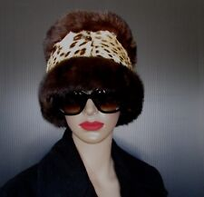 """EXTRA WIDE LUXURIOUS DARK BROWN MINK  AND SPOTTED FUR HEADBAND 22"""" X 8""""approx."""