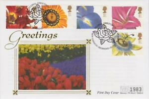 **  MERCURY SILK GREETINGS: FLOWER PAINTINGS FIRST DAY COVER JAN 6TH 1997 **