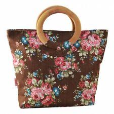 Canvas Brown Floral Lined wood handle grab Bag Bnwt