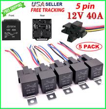 5pcs Relay Switch 5pin Harness Socket Waterproof 40a 12vdc 16awg Automotive Car