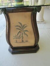 Thommy Bahama Style  Dining Table Base tropic Hand Painted  Glass Top    Free