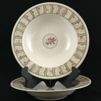 "Set of 2 Rim Soup Bowls 9"" by 222 Fifth Penny's Roses Pink Floral Fine China"