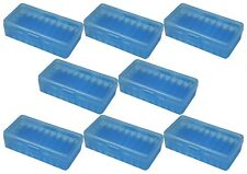 NEW MTM 50 Round Flip-Top 40/45/10MM Cal Ammo Box - Clear Blue (8 Pack)