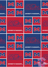 NCAA Ole Miss University of Mississippi Cotton Fabric By the Yard