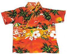 Hawaiian Shirt Beach Birthday Party Boys Girls Kids Childs 7-8 Years Orange