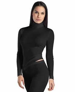 Women's Black Stone Hanro Silk & Cashmere Turtle-Neck Warm Winter Top Size XS-L