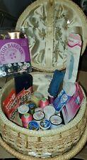 Vintage Dritz Sewing-CRAFTS Basket ROUND Box Mid Century Wicker LOT  SUPPLIES