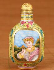 Noble Royal enamel Cloisonne Hand Painting princess Antique Statue Snuff Bottle