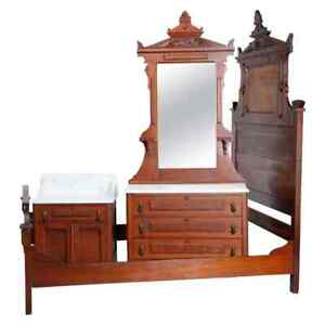 Antique Renaissance Revival Walnut, Burl and Marble Bedroom Set, circa 1890