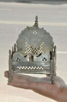 Old Brass Inlay Engraved Jali Cut Handcrafted Statue Stand / Throne