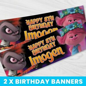 Personalised Trolls Birthday Banner - Children Party Banner x 2