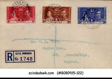 DOMINICA - 1937 KGVI CORONATION - 3V - FDC - REGISTERED