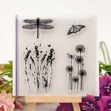 Dragonfly Butterfly Flowers Rubber Stamp Cling Diary Scrapbooking DIY Décor YG
