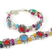 Women Jade Bead Tibet Silver Charm Bracelet Turquoise