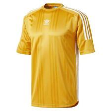 Adidas Originals HOMBRE 3 Rayas Jacquard Camiseta Amarillo Retro Vintage Nuevo