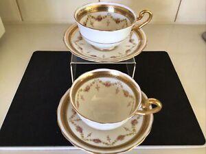 Victoria C & E (Cartwright & Edwards) English Bone China Tea Cups & Saucers X 2.
