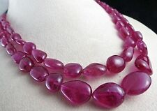 2 LINE 465 CARATS TOP NATURAL PINK TOURMALINE RUBELLITE TUMBLE BEADS NECKLACE