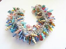 Colors OF The SOUTHWEST -  Handcrafted VINTAGE Bead CHARM Bracelet-SILVER  Chain