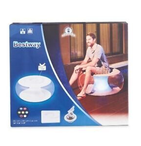 Bestway Inflatable Chair Lounger Ottoman LED Lights Indoor & Outdoor Waterproof
