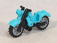 LEGO Motorcycle Aqua Medium Azure Friends Vintage Style Light Bluish Gray Wheels