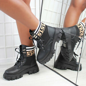 New Womens Knitted Lace Up Chunky Sole Ankle Biker Boot in Black Sizes 3-8